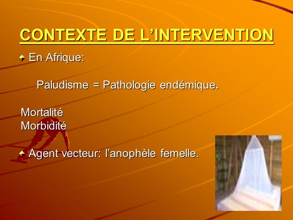 CONTEXTE DE LINTERVENTION En Afrique: Paludisme = Pathologie endémique. Paludisme = Pathologie endémique. Mortalité Mortalité Morbidité Morbidité Agen