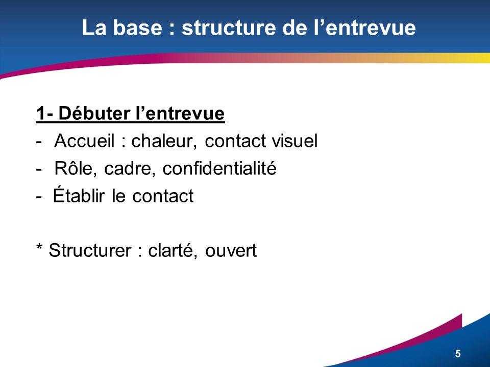 5 La base : structure de lentrevue 1- Débuter lentrevue -Accueil : chaleur, contact visuel -Rôle, cadre, confidentialité - Établir le contact * Struct