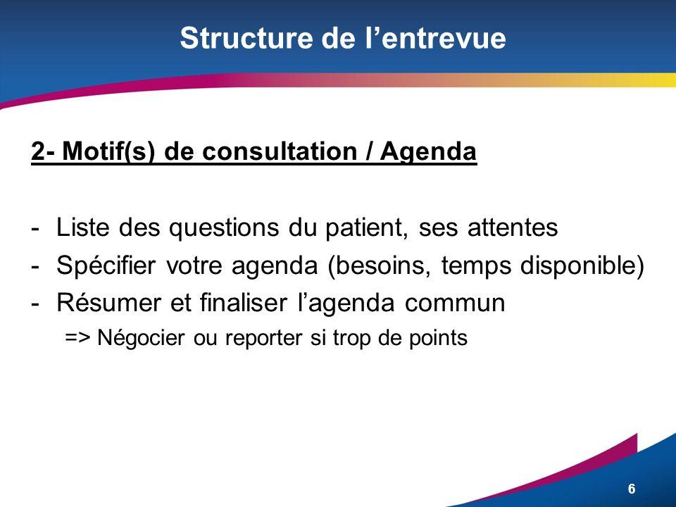 6 Structure de lentrevue 2- Motif(s) de consultation / Agenda -Liste des questions du patient, ses attentes -Spécifier votre agenda (besoins, temps di