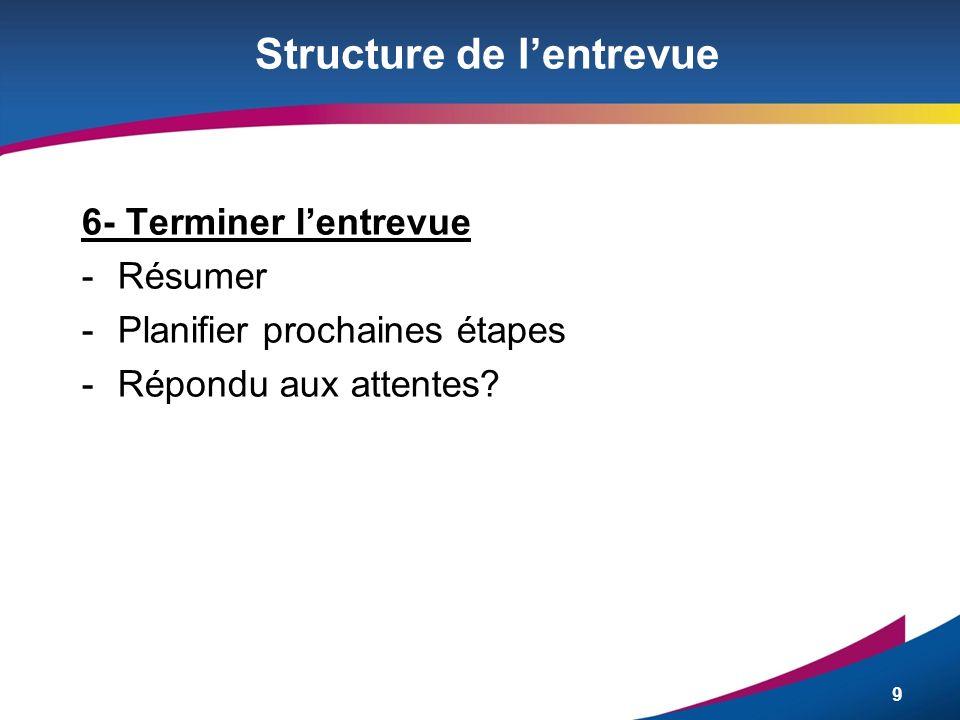 9 Structure de lentrevue 6- Terminer lentrevue -Résumer -Planifier prochaines étapes -Répondu aux attentes?