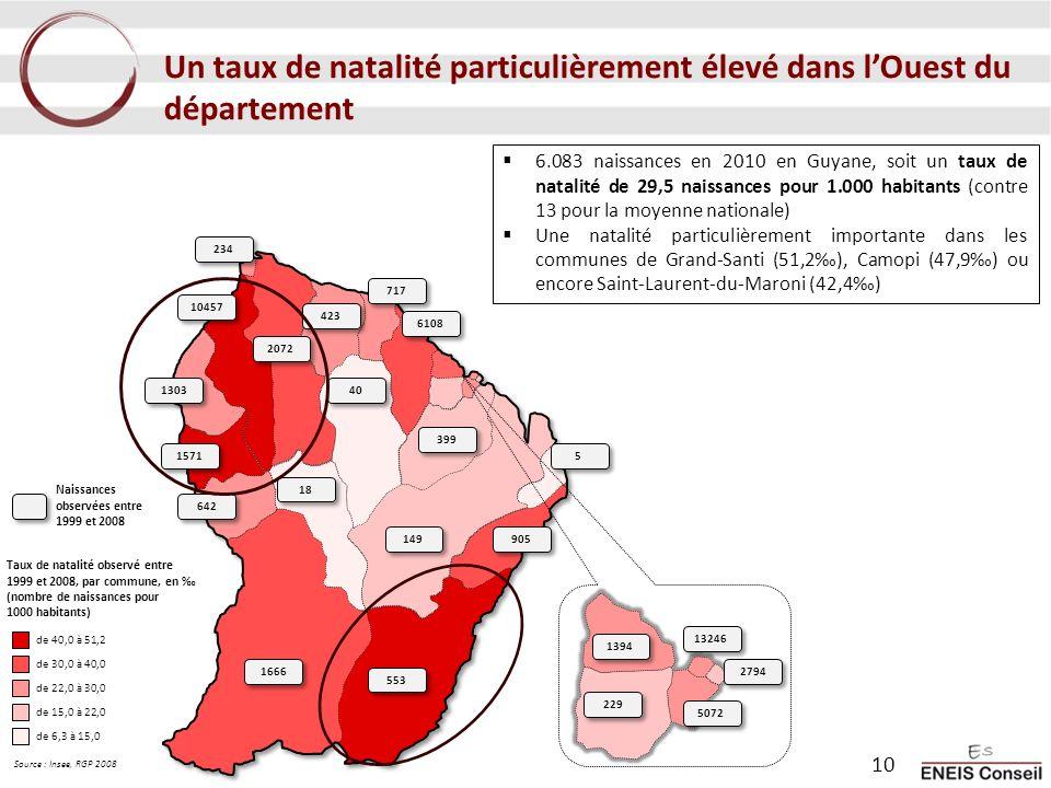 Un taux de natalité particulièrement élevé dans lOuest du département 6.083 naissances en 2010 en Guyane, soit un taux de natalité de 29,5 naissances