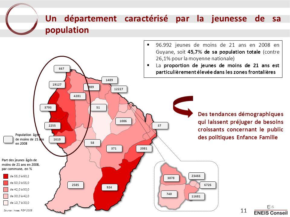 Un département caractérisé par la jeunesse de sa population 96.992 jeunes de moins de 21 ans en 2008 en Guyane, soit 45,7% de sa population totale (co