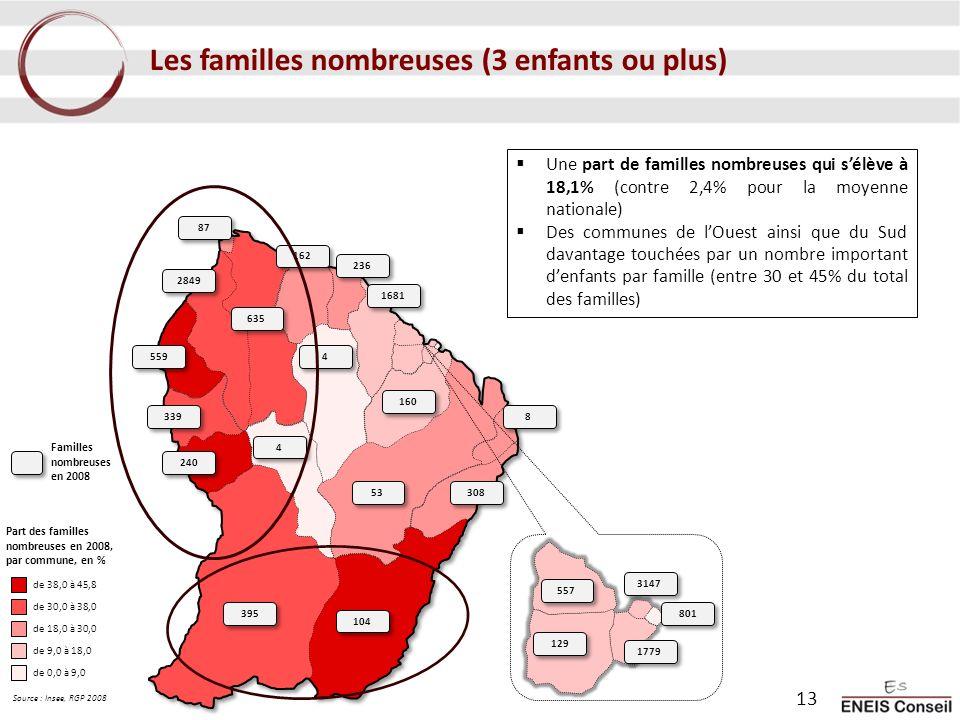 Les familles nombreuses (3 enfants ou plus) Une part de familles nombreuses qui sélève à 18,1% (contre 2,4% pour la moyenne nationale) Des communes de