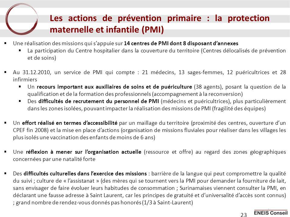 Les actions de prévention primaire : la protection maternelle et infantile (PMI) Une réalisation des missions qui sappuie sur 14 centres de PMI dont 8