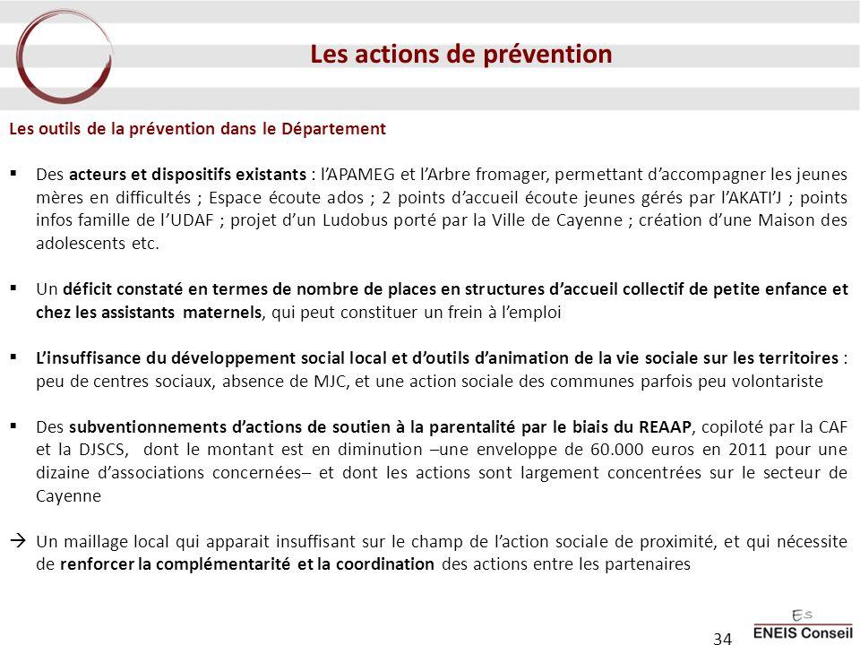 Les outils de la prévention dans le Département Des acteurs et dispositifs existants : lAPAMEG et lArbre fromager, permettant daccompagner les jeunes