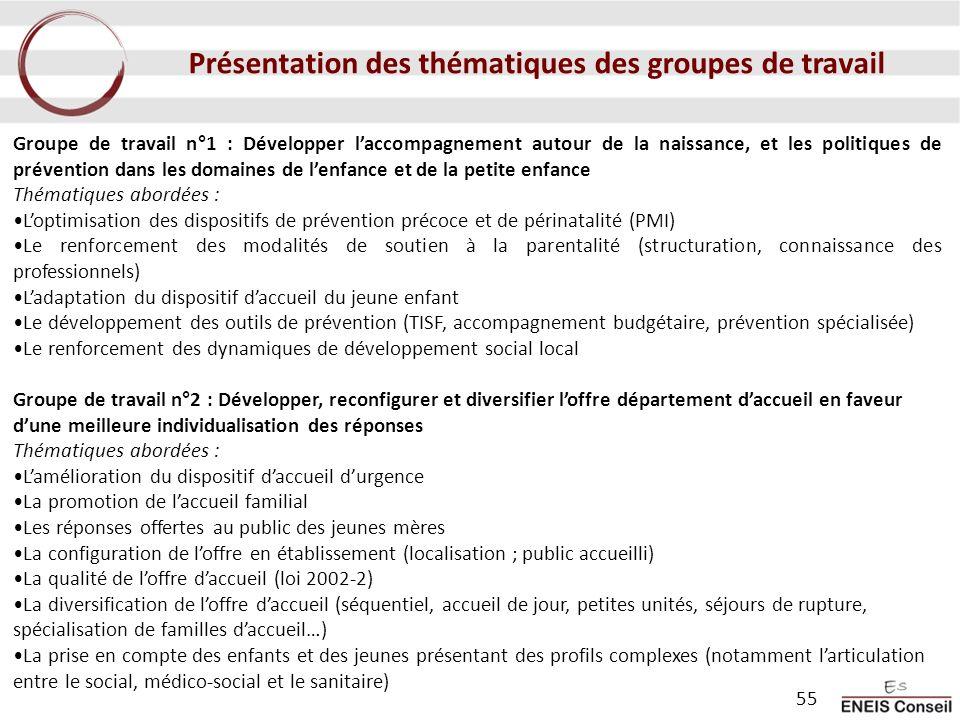 Groupe de travail n°1 : Développer laccompagnement autour de la naissance, et les politiques de prévention dans les domaines de lenfance et de la peti