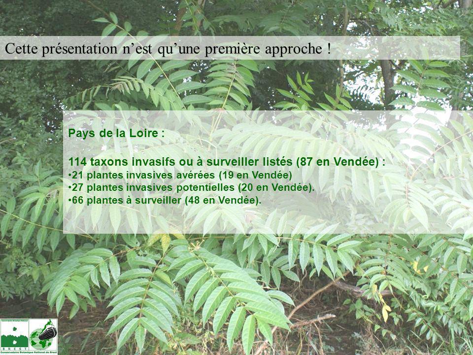 Pays de la Loire : 114 taxons invasifs ou à surveiller listés (87 en Vendée) : 21 plantes invasives avérées (19 en Vendée) 27 plantes invasives potent