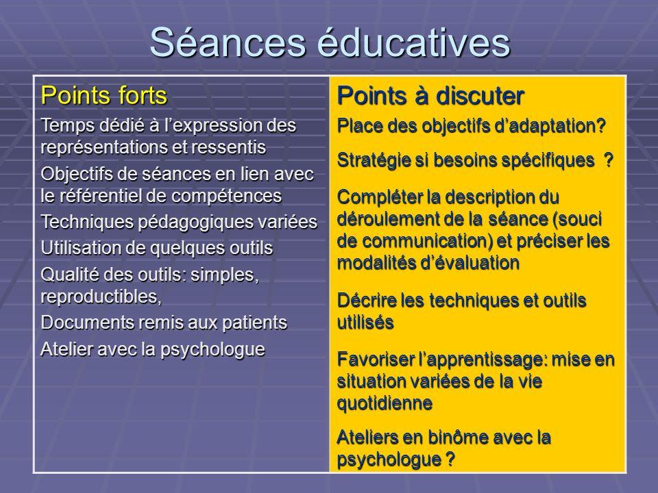 Evaluation pédagogique Adéquation entre les besoins des patients, les objectifs éducatifs, les outils éducatifs, les contenus, les moyens Adéquation e