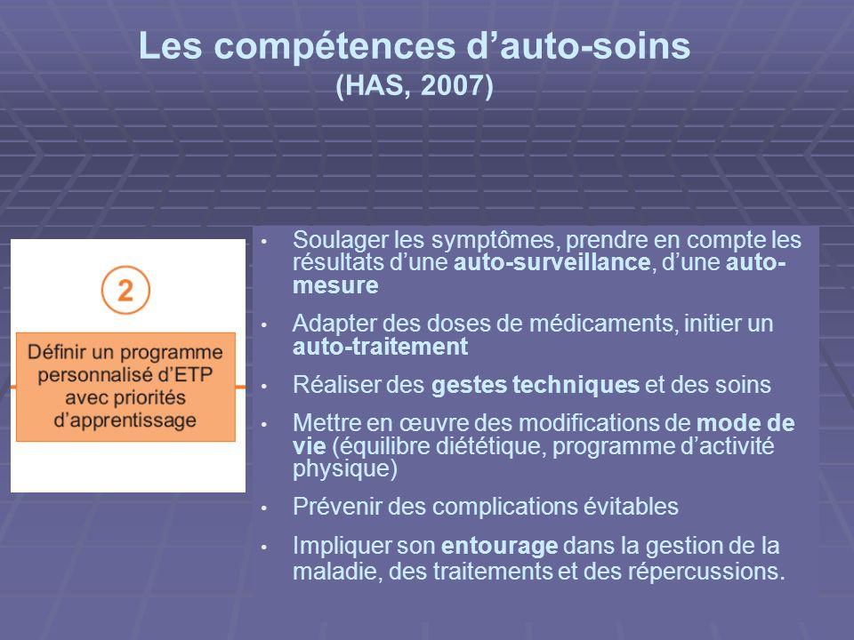 Quelles compétences pour le patient et/ou son entourage ? Lacquisition de compétences dauto-soins est indissociable de lacquisition ou de la mobilisat