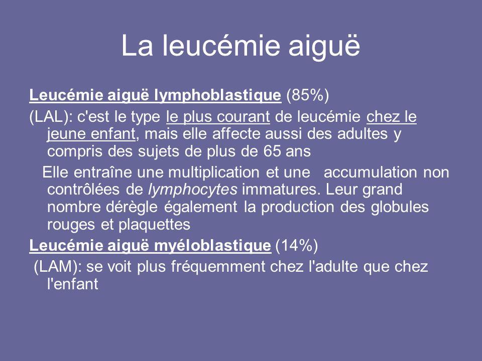 La leucémie aiguë Leucémie aiguë lymphoblastique (85%) (LAL): c'est le type le plus courant de leucémie chez le jeune enfant, mais elle affecte aussi