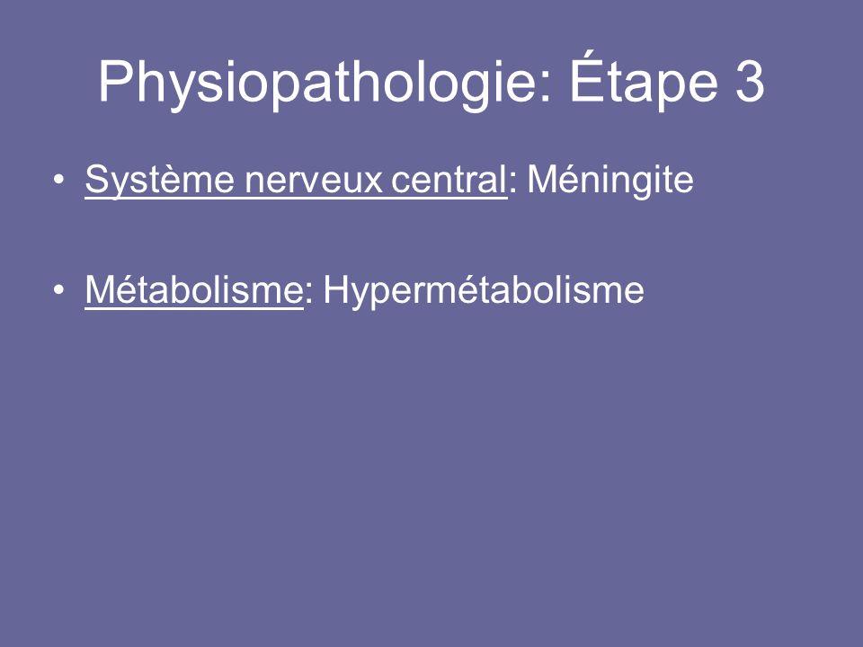Physiopathologie: Étape 3 Système nerveux central: Méningite Métabolisme: Hypermétabolisme