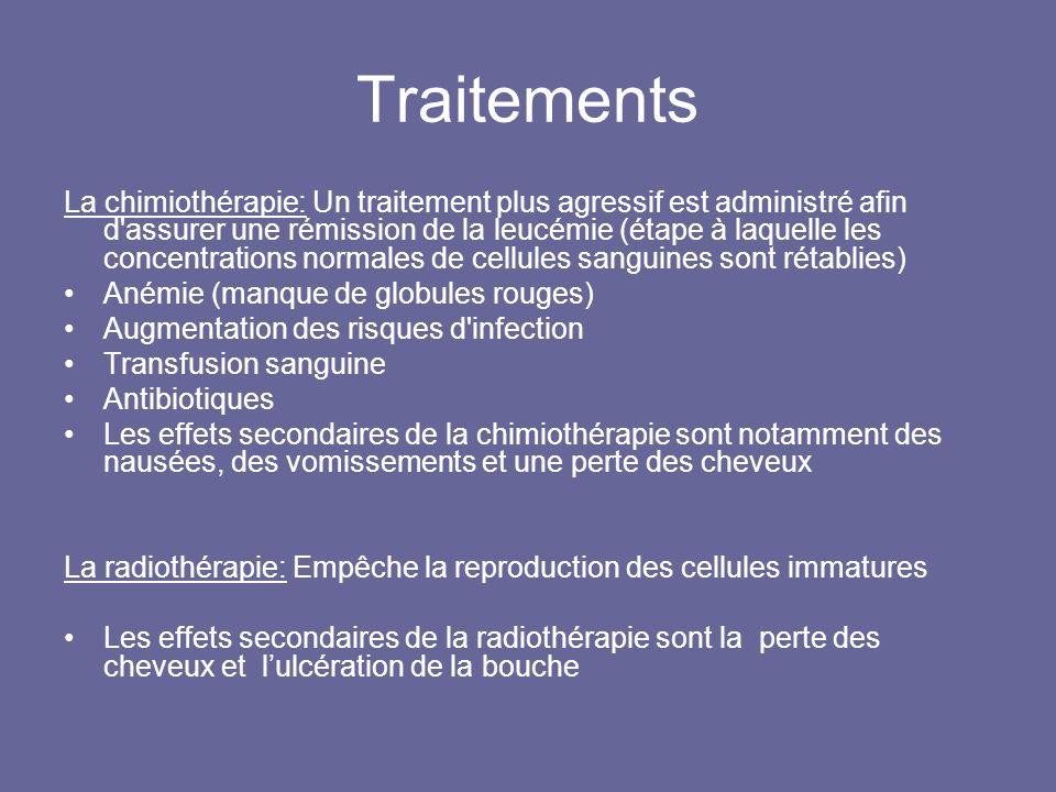 Traitements La chimiothérapie: Un traitement plus agressif est administré afin d'assurer une rémission de la leucémie (étape à laquelle les concentrat