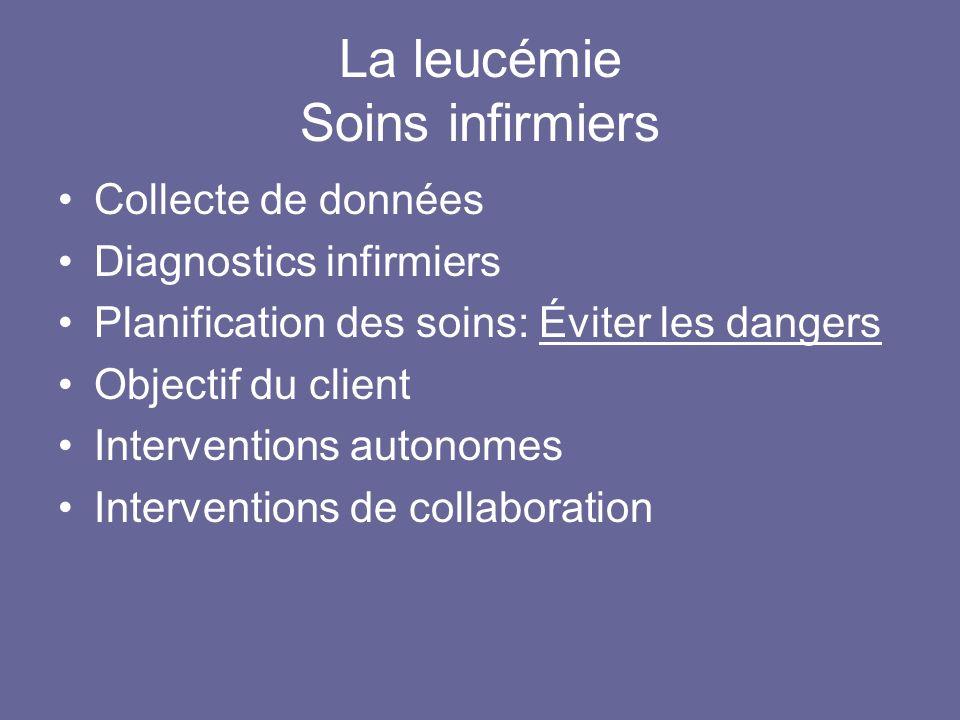 La leucémie Soins infirmiers Collecte de données Diagnostics infirmiers Planification des soins: Éviter les dangers Objectif du client Interventions a