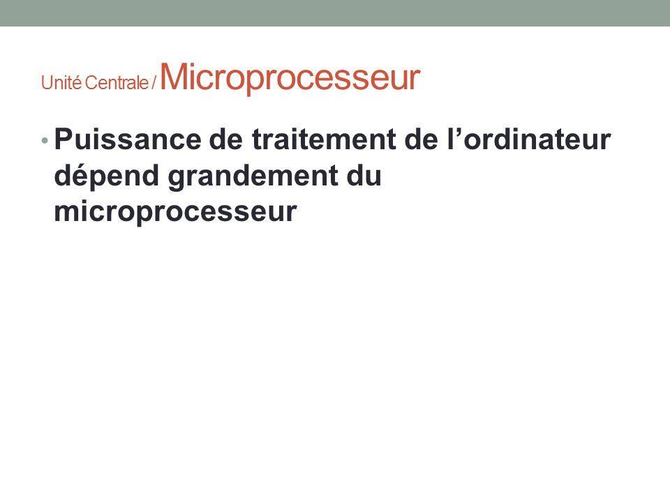 Puissance de traitement de lordinateur dépend grandement du microprocesseur