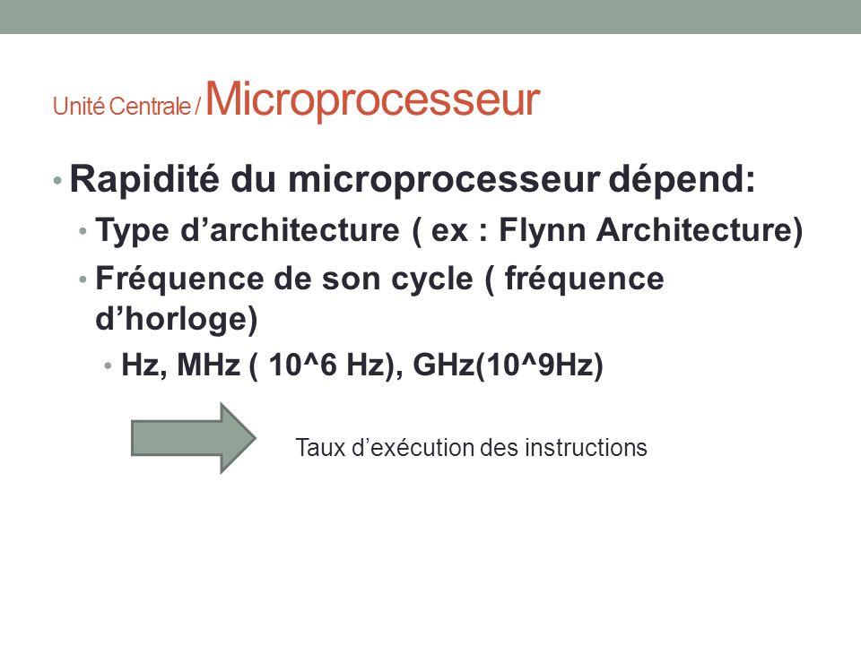 Unité Centrale / Microprocesseur Rapidité du microprocesseur dépend: Type darchitecture ( ex : Flynn Architecture) Fréquence de son cycle ( fréquence