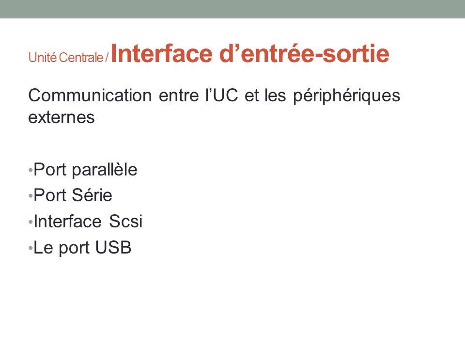 Unité Centrale / Interface dentrée-sortie Communication entre lUC et les périphériques externes Port parallèle Port Série Interface Scsi Le port USB