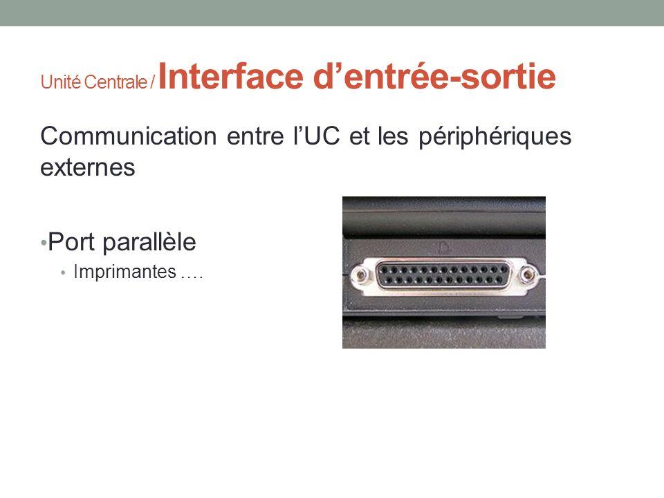 Unité Centrale / Interface dentrée-sortie Communication entre lUC et les périphériques externes Port parallèle Imprimantes ….