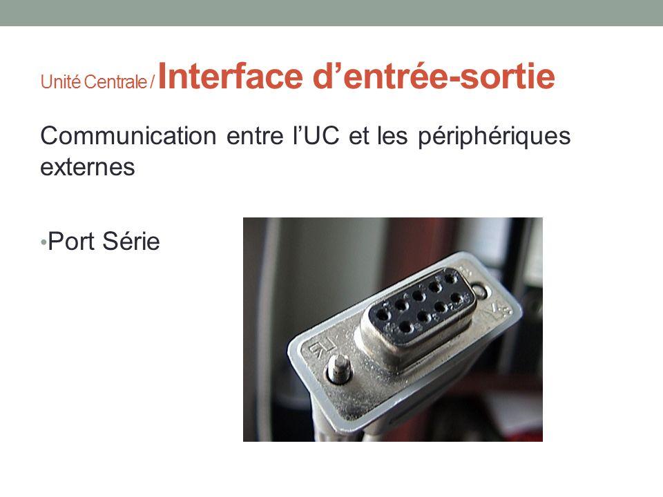 Unité Centrale / Interface dentrée-sortie Communication entre lUC et les périphériques externes Port Série