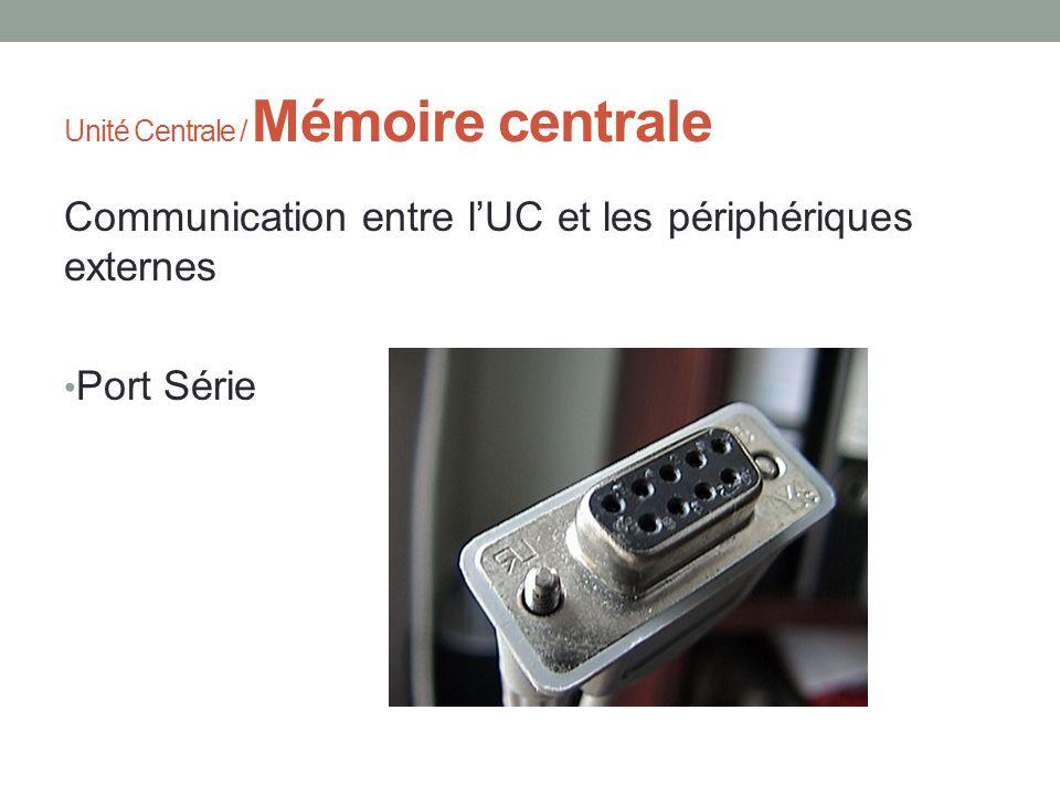 Unité Centrale / Mémoire centrale Communication entre lUC et les périphériques externes Port Série