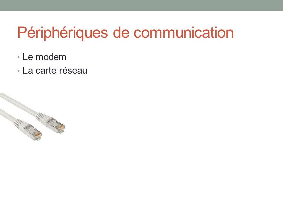 Périphériques de communication Le modem La carte réseau