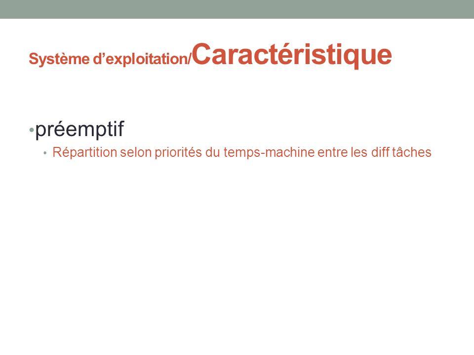 Système dexploitation/ Caractéristique préemptif Répartition selon priorités du temps-machine entre les diff tâches