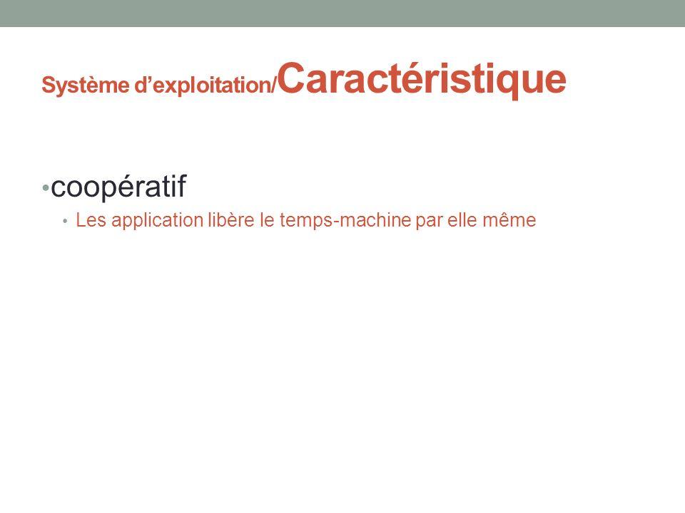 Système dexploitation/ Caractéristique coopératif Les application libère le temps-machine par elle même