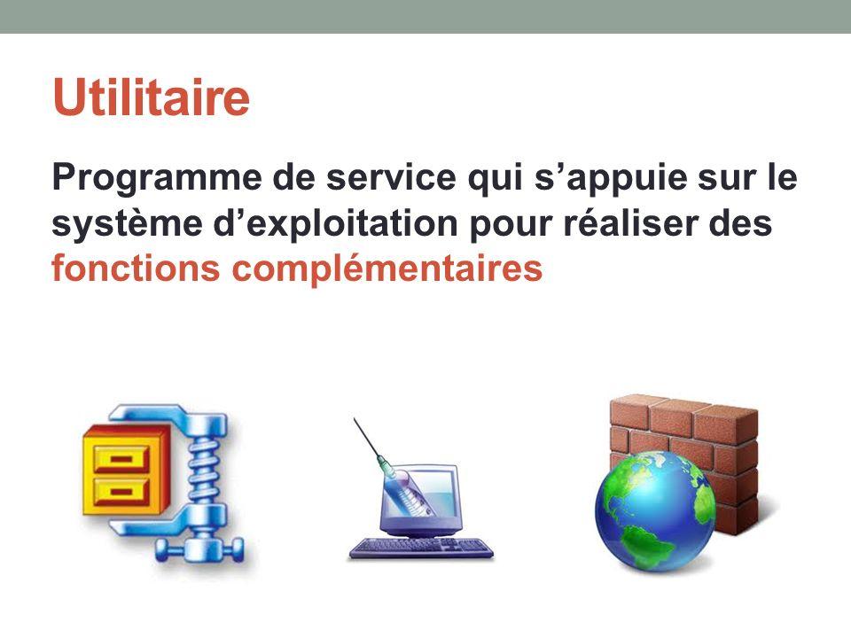 Utilitaire Programme de service qui sappuie sur le système dexploitation pour réaliser des fonctions complémentaires
