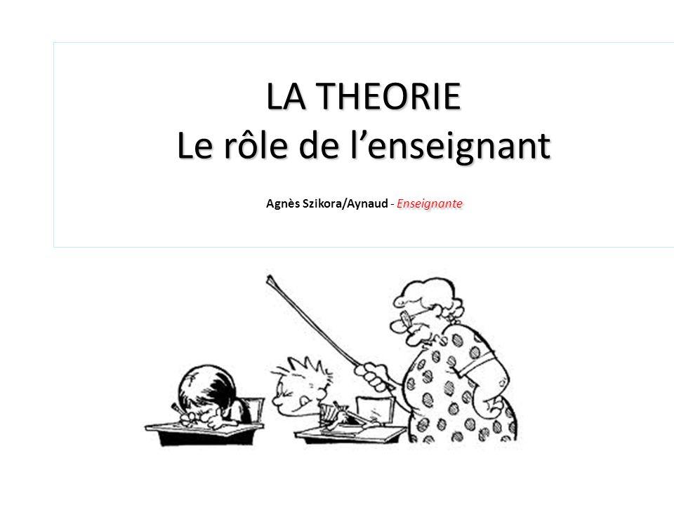 LA THEORIE Le rôle de lenseignant Enseignante LA THEORIE Le rôle de lenseignant Agnès Szikora/Aynaud - Enseignante