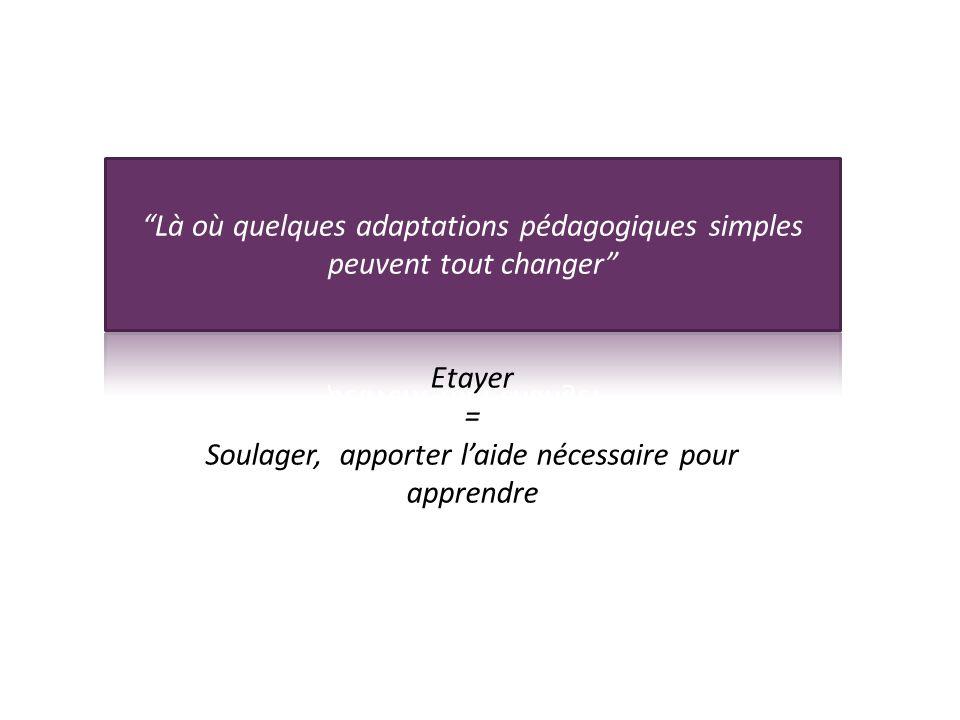 Etayer = Soulager, apporter laide nécessaire pour apprendre