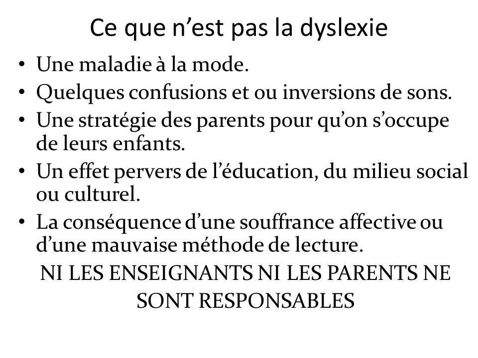 Ce que nest pas la dyslexie Une maladie à la mode. Quelques confusions et ou inversions de sons. Une stratégie des parents pour quon soccupe de leurs