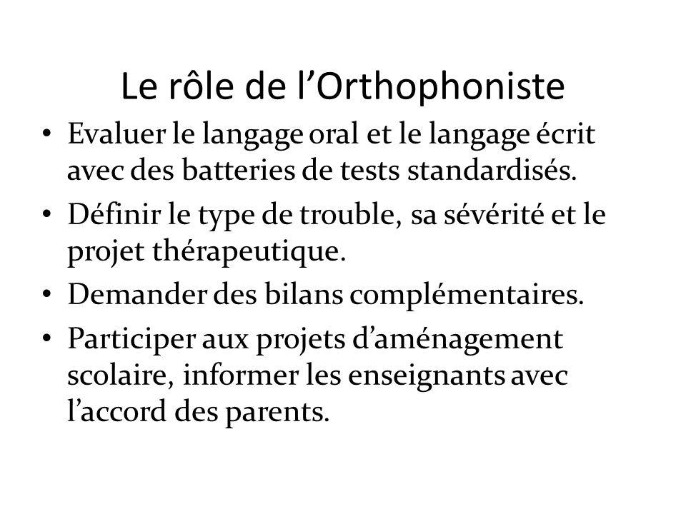 Le rôle de lOrthophoniste Evaluer le langage oral et le langage écrit avec des batteries de tests standardisés. Définir le type de trouble, sa sévérit