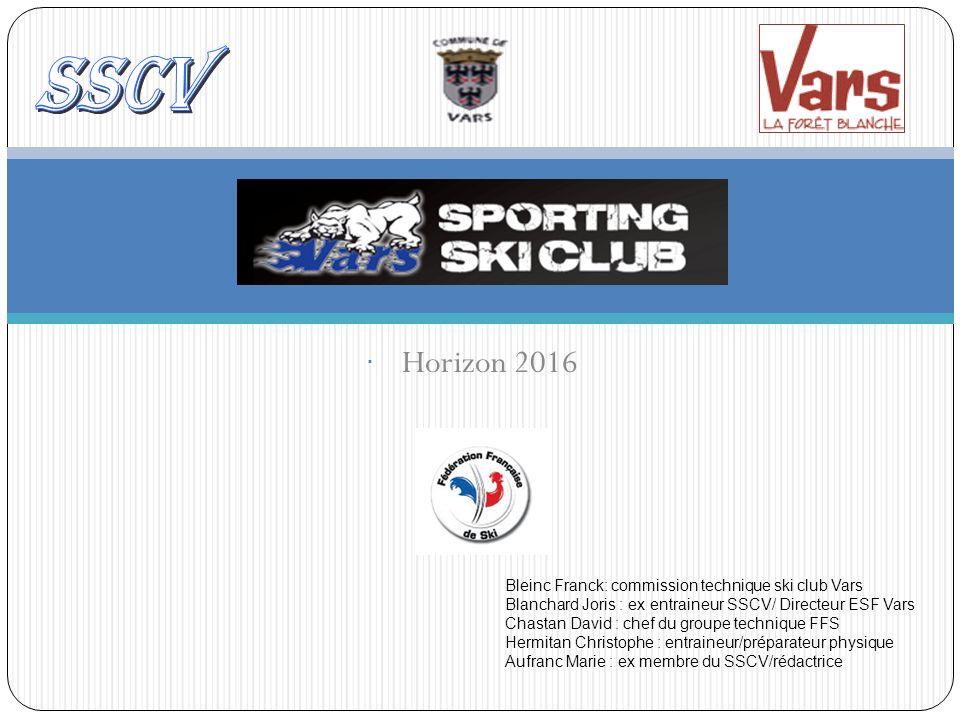 Horizon 2016 Bleinc Franck: commission technique ski club Vars Blanchard Joris : ex entraineur SSCV/ Directeur ESF Vars Chastan David : chef du groupe