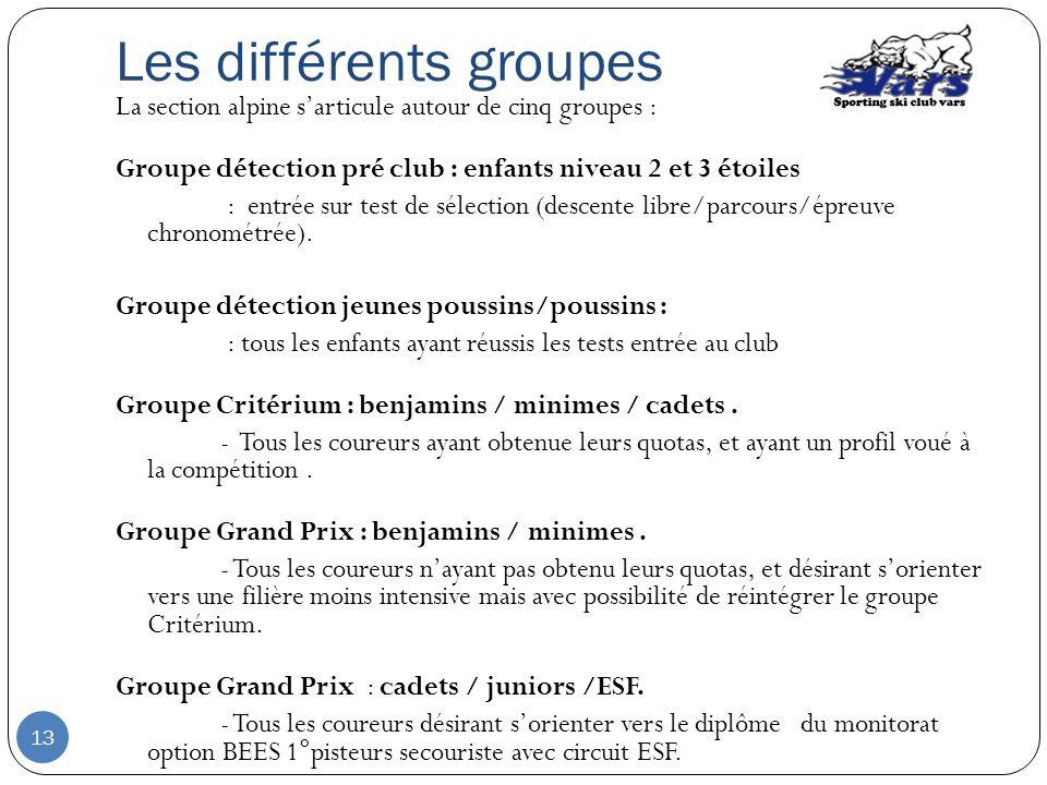 Les différents groupes La section alpine sarticule autour de cinq groupes : Groupe détection pré club : enfants niveau 2 et 3 étoiles : entrée sur tes