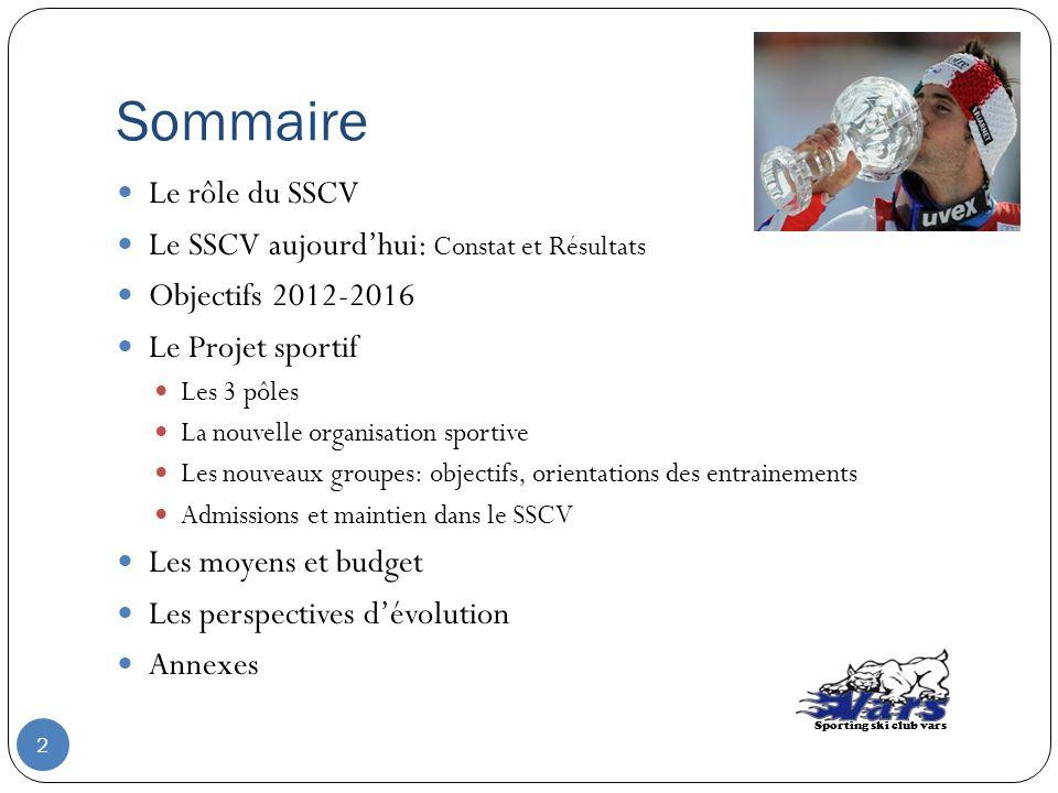 Sommaire Le rôle du SSCV Le SSCV aujourdhui: Constat et Résultats Objectifs 2012-2016 Le Projet sportif Les 3 pôles La nouvelle organisation sportive