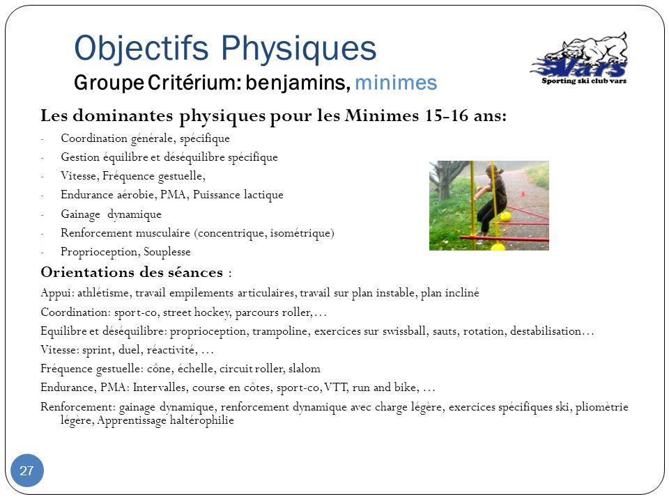 Les dominantes physiques pour les Minimes 15-16 ans: - Coordination générale, spécifique - Gestion équilibre et déséquilibre spécifique - Vitesse, Fré