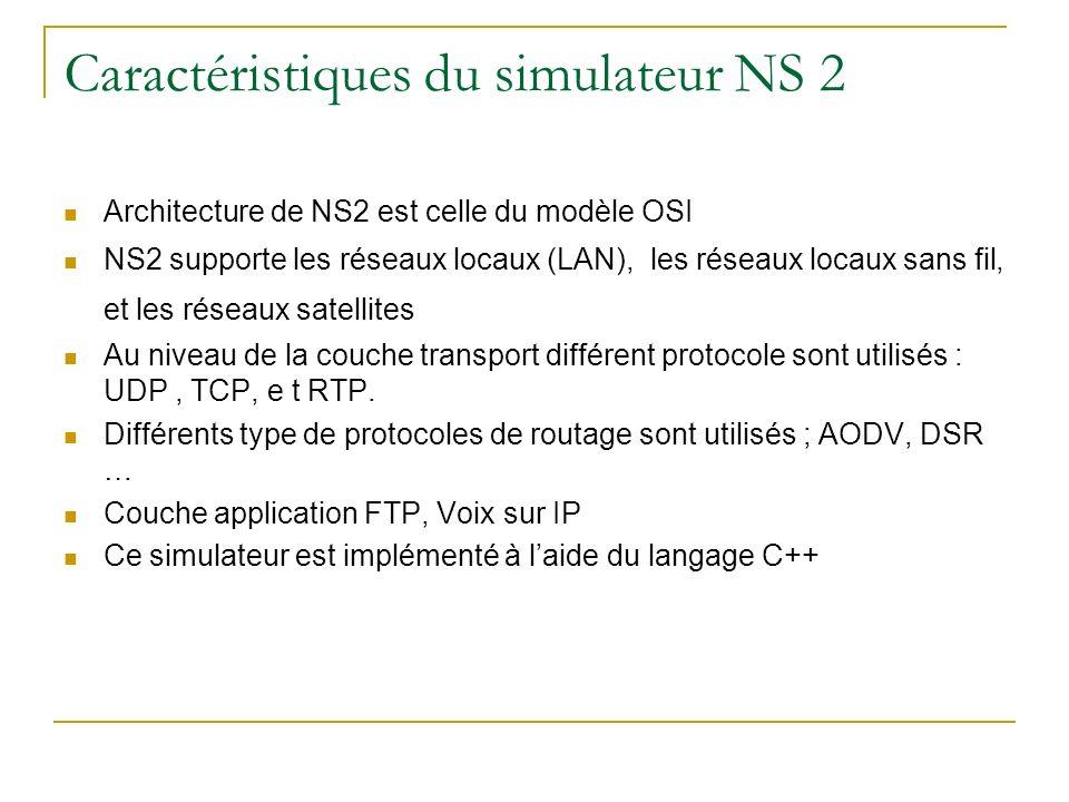 Caractéristiques du simulateur NS 2 Architecture de NS2 est celle du modèle OSI NS2 supporte les réseaux locaux (LAN), les réseaux locaux sans fil, et