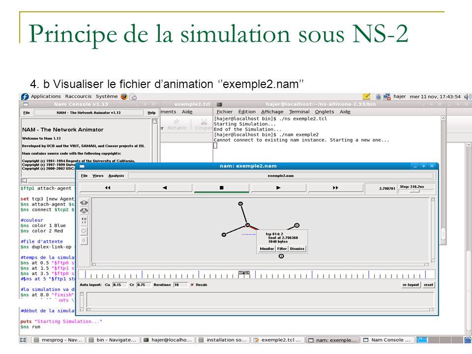 Principe de la simulation sous NS-2 4. b Visualiser le fichier danimation exemple2.nam