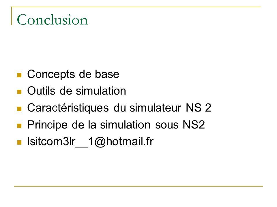 Conclusion Concepts de base Outils de simulation Caractéristiques du simulateur NS 2 Principe de la simulation sous NS2 Isitcom3lr__1@hotmail.fr