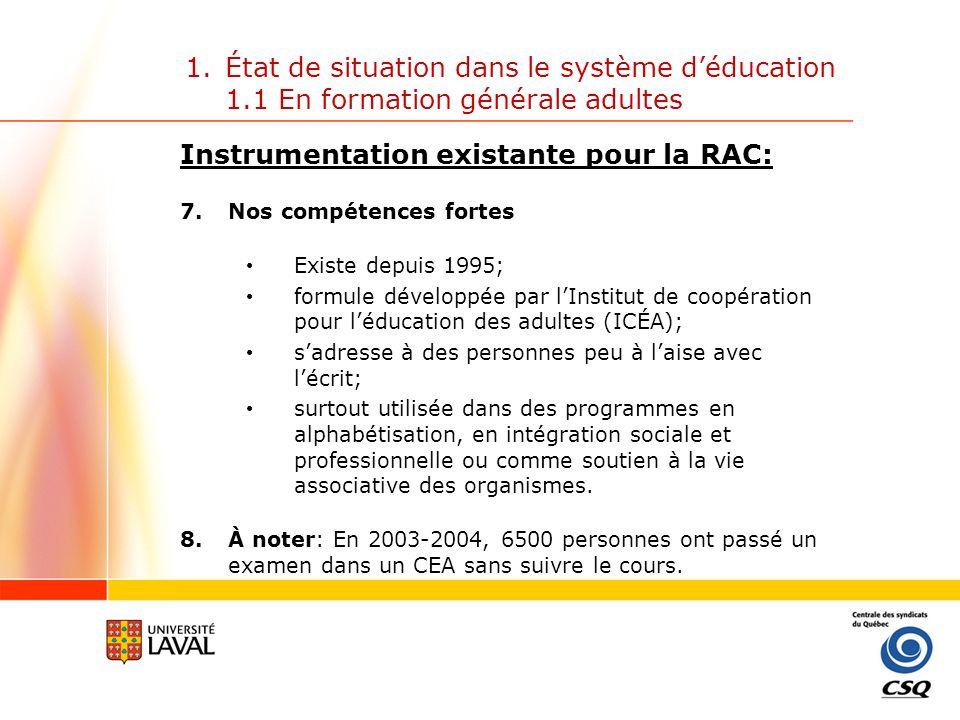 1.État de situation dans le système déducation 1.2 En formation professionnelle et technique A.