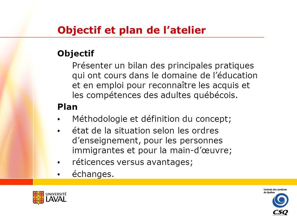 Méthodologie Point de départ: Centrale des syndicats du Québec (2005).