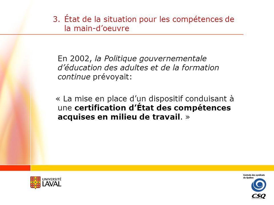 3.État de la situation pour les compétences de la main-doeuvre Juin 2001: Adoption dun Cadre général de développement et de reconnaissance des compétences; par Emploi-Québec et la Commission des partenaires du marché du travail (CPMT).