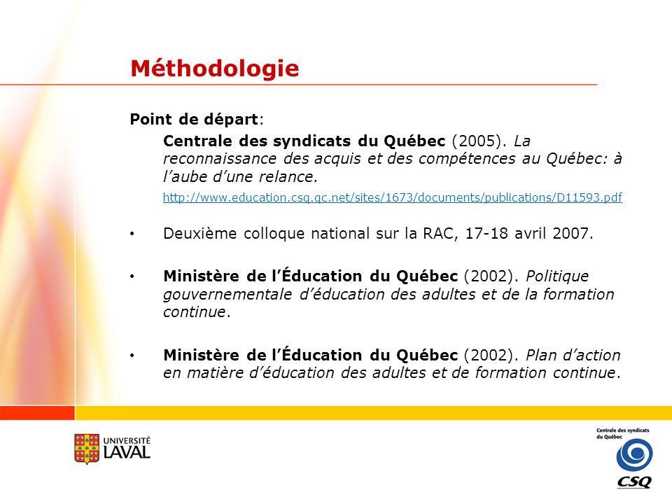 Méthodologie Ministère de lImmigration et des Communautés culturelles (2005).