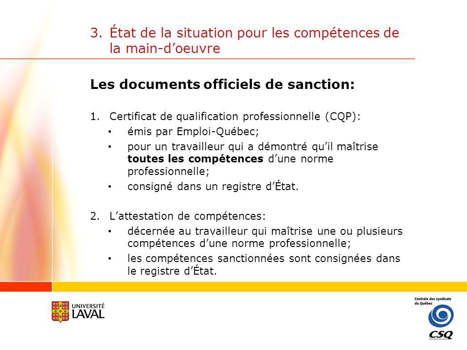 3.État de la situation pour les compétences de la main-doeuvre Le registre des compétences ou registre dÉtat: Partie publique: on y retrouve toutes les normes professionnelles développées par les comités sectoriels de main-dœuvre.