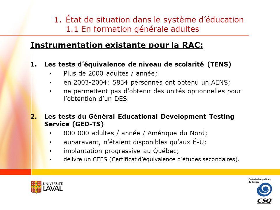 1.État de situation dans le système déducation 1.1 En formation générale adultes Instrumentation existante pour la RAC: 2.Les tests du Général Educational Development Testing Service (GED-TS) 5 tests5 tests 1.Écriture (8 unités) 2.Lecture (7 unités) 3.Maths (7 unités) 4.Sciences (7 unités) 5.Sciences humaines (7 unités) Passation 2 jours (Total: 7 heures 35 minutes) (Procédures de sécurité particulières qui assurent un contrôle maximum) Peuvent fournir jusquà 36 unités de matières optionnelles pour lobtention dun DES (mais les matières obligatoires le demeurent).