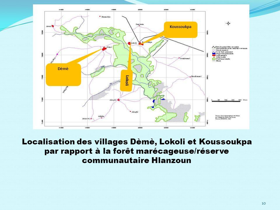 Dèmè Lokoli Koussoukpa Localisation des villages Dèmè, Lokoli et Koussoukpa par rapport à la forêt marécageuse/réserve communautaire Hlanzoun 10
