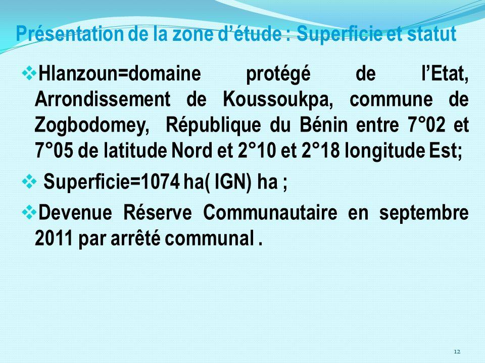 Présentation de la zone détude : Superficie et statut Hlanzoun=domaine protégé de lEtat, Arrondissement de Koussoukpa, commune de Zogbodomey, Républiq