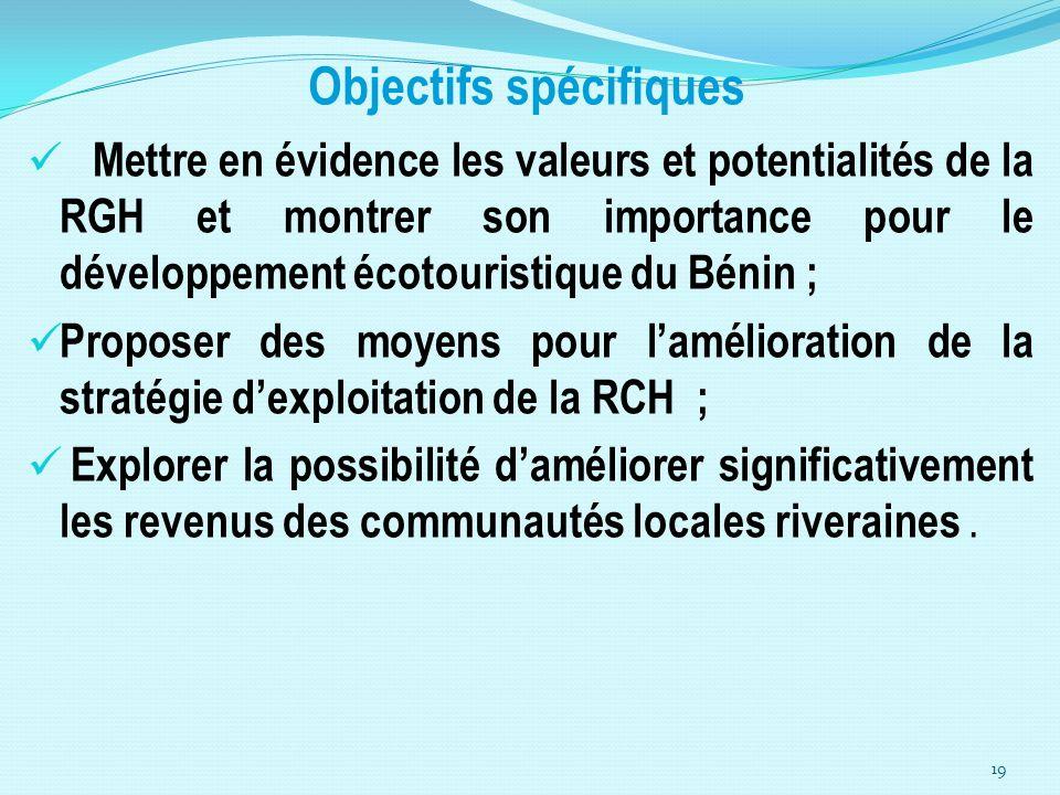 Objectifs spécifiques Mettre en évidence les valeurs et potentialités de la RGH et montrer son importance pour le développement écotouristique du Béni