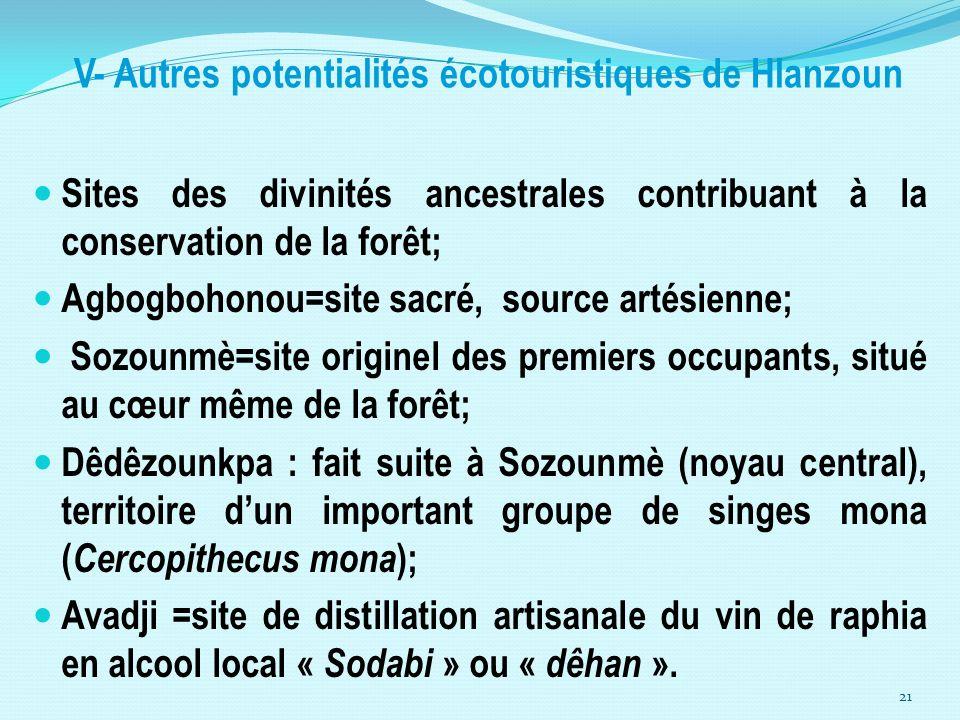 V- Autres potentialités écotouristiques de Hlanzoun Sites des divinités ancestrales contribuant à la conservation de la forêt; Agbogbohonou=site sacré
