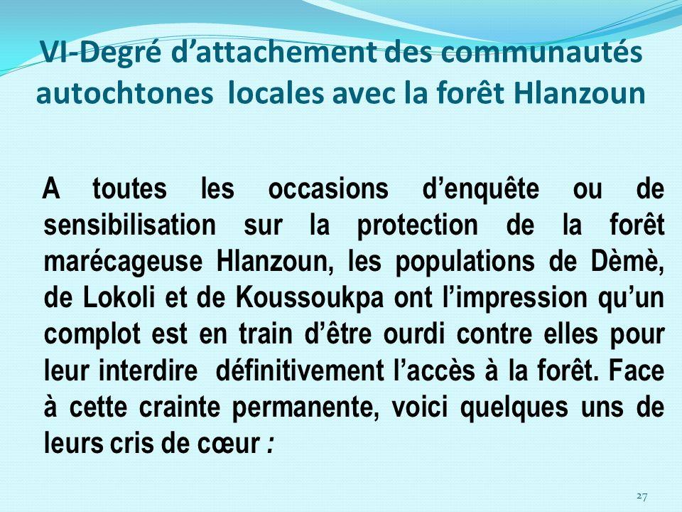 VI-Degré dattachement des communautés autochtones locales avec la forêt Hlanzoun A toutes les occasions denquête ou de sensibilisation sur la protecti