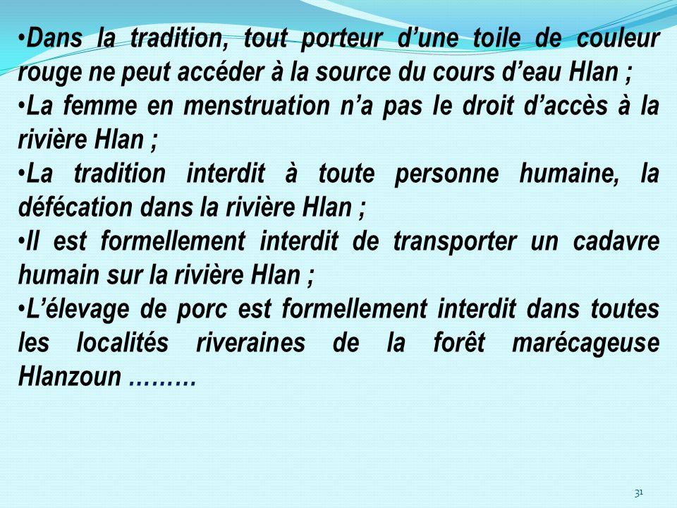 31 Dans la tradition, tout porteur dune toile de couleur rouge ne peut accéder à la source du cours deau Hlan ; La femme en menstruation na pas le dro